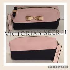 victoria s secret cosmetic bag pink black gold bow