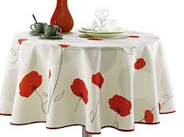63 inch round tablecloth ivory white red poppy flower stain resistant washable liquid spills bead up seats 6 to 8 people other size available 63 x 80