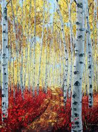 aspen paintings and birch tree art by jennifer vranes