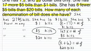 algebra i help solving systems of linear equations word problems part iv you