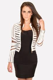 gracia leather blazer white with mesh