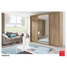 image mirrored sliding. Rauch Imperial 2.5m Centre Mirrored Sliding Wardrobe Oak Image