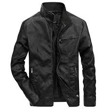 aude men s autumn winter jacket zipper pocket stand collar imitation leather coat free