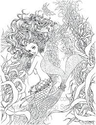 Mermaid Coloring Sheets Cute Pages Three Mermaids In Funky Detailed