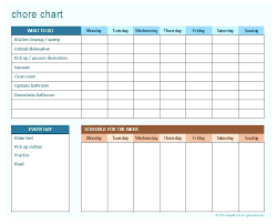 Household Chore Chart Downloadable Chore Chart Regarding Weekly Checklist Template House