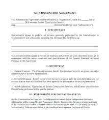 with material construction agreement sample contractor agreement luxury subcontractor contract template 3