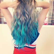 Blue Dip Dye On Light Brown Hair Blue Dip Dyed Hair Amazing Blonde Teal Turquoise Im Think A