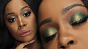 fall makeup tutorial dark skin olive green smokey eyes lips trucco autunno pelle scura