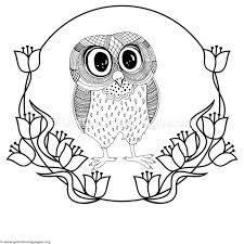 Free Instant Download Zentangle Cute Big Eyes Owl Coloring Pages