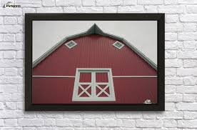 alberta canada red barn with white trim wall decor frame