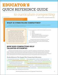 How To Make A Quick Reference Guide Educators Quick Reference Guide To Curriculum Compacting Sally