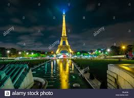 Eiffel Tower Light Show 2017 Paris France July 2 2017 Eiffel Tower Reflect In The