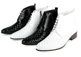 aliexpress com buy woven design black white ankle boots mens Wedding Boots Black aliexpress com buy woven design black white ankle boots mens wedding boots genuine leather mens winter boots mens motorcycle boots outdoor shoes from wedding shoes block heel