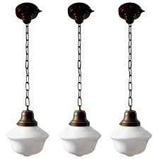 vintage 1920s schoolhouse pendant lights for