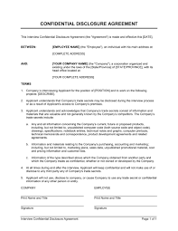 Interview Confidential Disclosure Agreement Template Word Pdf