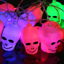 Outdoor Skull Lights 3 5m 20leds Plug In Battery Powered Outdoor Skull String Lights For Halloween Holiday Decoration