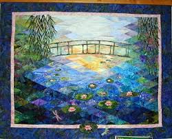 Quilt Inspiration: Monet's Garden: Impressionism and Quilting & Darlene Sweetwood has created a beautiful quilt, awash in light and shadow.  This work focuses on the water, bridge, and sunlight that Monet saw as he  ... Adamdwight.com