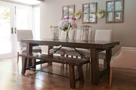 Small Picture White Chairs And Wooden Bench For Charming Dining Room Decor Using
