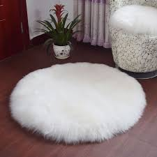 <b>Long Hair</b> Faux Wool Fur Mat Rug Bedroom Soft Fluffy <b>Round</b> ...