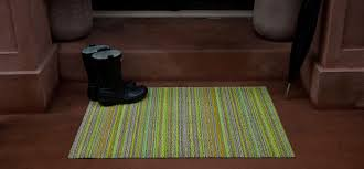chilewich shag floor mat in skinny stripe  the century house