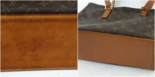 the bottom of this bag had become extremely dark and dirty after a thorough cleaning process we red the colour to a light shade of vachetta leather
