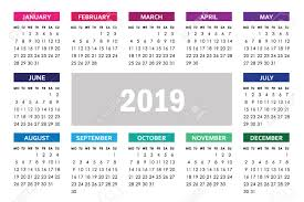 Horizontal Calendar Horizontal Calendar For 2019 Year With Colorful Months Isolated