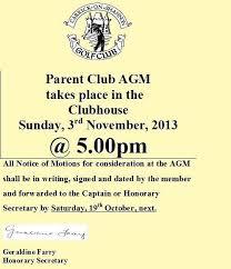 Parent Club Agm Carrick On Shannon Golf Club