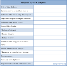 Personal Injury Complaint Form : Sample Forms
