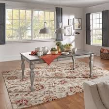 7ft dining table: eleanor grey two tone wood butterfly leaf extending dining table by tribecca home