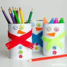 diy tin can snowmen pencil holders via shelterness com