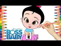 Draw And Color Little Girl From Cartoon Boss Baby Coloring Pages