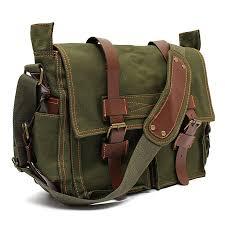 men s vintage canvas leather military large shoulder messenger bag green