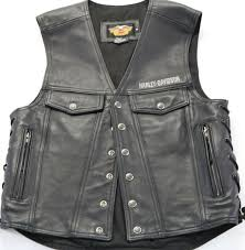 mens harley davidson leather vest m l black piston ii snap up bar shield snap up
