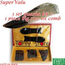 100 Ox Horn Traditional Acupuncture Massager Tool Gift Box Gua Sha Beauty Kit 5pcs Set 1pcs Guasha Chart 1pcs Big Comb In Massage Relaxation