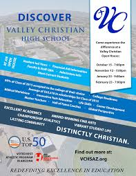 2015 16 Open House Flyer V5 Valley Christian High School