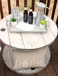 diy farmhouse style wood spool table ideas tutorial to make a side table from a