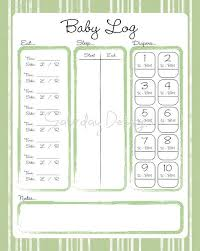 Daily Log Chart Printable Daily Log For Baby Green Stripes Feeding