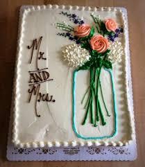 Bridal Shower Sheet Cake With Mason Jar Bouquet Trefzgers Bakery