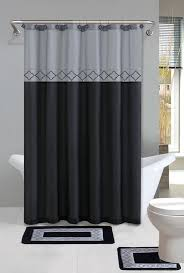modern bathroom shower curtains. Perfect Shower Gray Black Modern Shower Curtain 15 Pcs Bath Rug Mat Contour Hooks Bathroom  Set For Curtains U