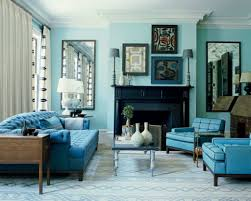 living room furniture color schemes. Coastal Living Room With Monochromatic Color Schemes And Blue Oversized Chairs : House Interior Furniture