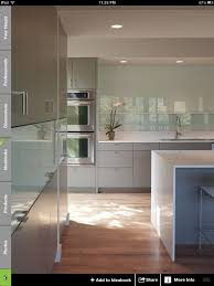 From Houzz Grey Green Cabinets Back Painted Glass Backsplash Flat