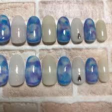 メルカリ ネイルチップ マーブル ラメ 青 紫 白 夏 付け爪 ジェル 20枚