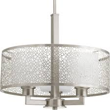 progress lighting mingle collection 3 light brushed nickel pendant with etched parchment glass