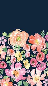 Navy floral wallpaper