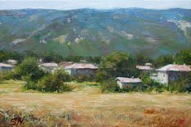 tuscany village landscape oil painting of italian countryside