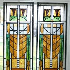 prairie style stained glass pair arts and crafts prairie style leaded stained glass windows mission style