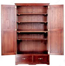cherry finished wooden pantry kitchen cabinet with two bottom drawers fabulous free standing corner pantry