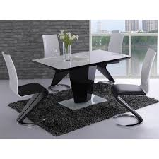 leona dining set 4 to 6 seater black high gloss white gl number of chairs 6 unique furnishing