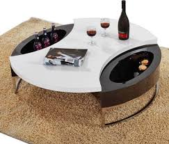 Coffee Table:Modern Black And White Round Top Coffee Table With Storage  Mino Modern Coffee