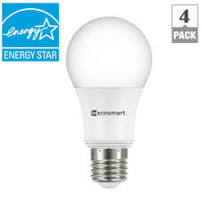 ecosmart w equivalent daylight a energy star dimmable led 60w equivalent daylight a19 energy star dimmable led light bulb 4 pack